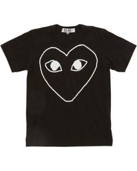 Play Comme des Garçons Heart Outline Tee black - Lyst