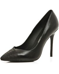 River Island Black Contrast Toe Cap Point Pumps - Lyst