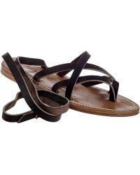 K. Jacques | Zenobie Black Leather Leg Wrap Strap Sandal | Lyst