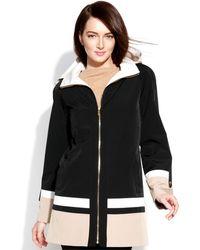 Jones New York Hooded Colorblocked Coat - Lyst
