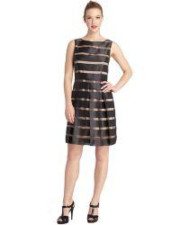Tahari Abbie Illusion Stripe Pleated A Line Dress - Lyst