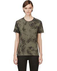 Pierre Balmain Olive Green Leopard Print T_shirt - Lyst