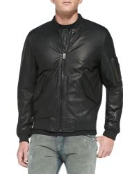 Diesel Devra Lightweight Leather Bomber Jacket - Lyst