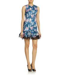 Cynthia Rowley Floral Scuba Dress - Lyst