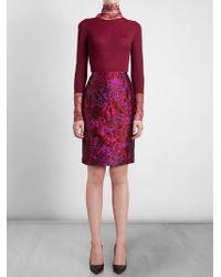 Nina Ricci Floral Jacquard Pencil Skirt - Lyst