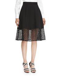 Lela Rose Black Lace-hem Skirt - Lyst