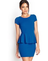 Forever 21 Textured Peplum Dress - Lyst