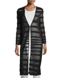 Misook - Long Striped Sheer Duster - Lyst