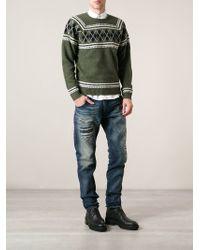 Diesel Green Argyle Sweater - Lyst