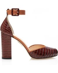 Charlotte Olympia   Renee Croc Embossed Calf Leather Pumps   Lyst