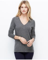 Ann Taylor Chelsea Cashmere V-neck Sweater - Lyst