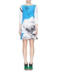 Prabal Gurung Rose Print Silk Shift Dress - Lyst