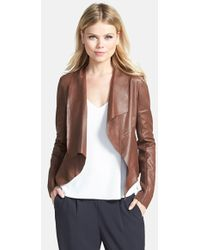 Trouvé Draped Lapel Leather Jacket - Lyst