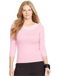 Lauren by Ralph Lauren Plus Size Three-Quarter Sleeve Embellished Top - Lyst