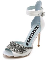 DANNIJO - Rina Crystal Bib Court Shoes - White - Lyst