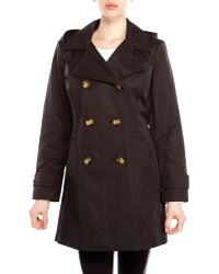 Anne Klein Double-Breasted Hooded Trench Coat - Lyst