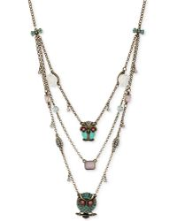 Betsey Johnson Gold-tone Owl Illusion Necklace - Lyst