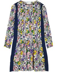 Band Of Outsiders Floral Longsleeve Trapeze Dress - Lyst