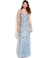 Adrianna Papell Sleeveless Beaded Mermaid Gown - Lyst