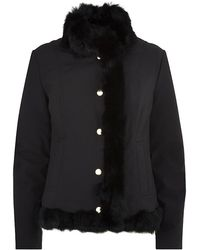 Love Moschino Rabbit Fur Trimmed Padded Jacket - Lyst