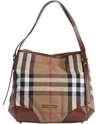 Burberry Dark Tan and Nova Check Canvas Canterbury Shoulder Bag - Lyst