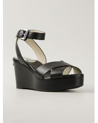 MICHAEL Michael Kors Cross-Over Leather Wedges - Lyst