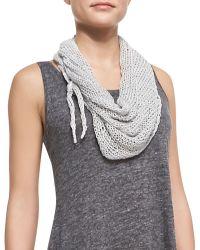 Eileen Fisher Scoopneck Melange Jersey Dress  Handknit Cord Scarf - Lyst