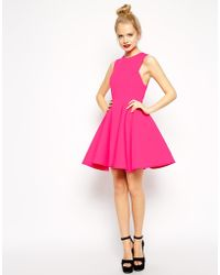 Asos Premium Bonded Fit And Flare Dress - Lyst