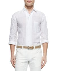 Loro Piana Andre Long-Sleeve Linen Shirt - Lyst