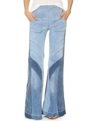 Free People | Tidal Wave Flare Jeans - Pale Blue Multi | Lyst
