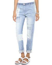 Thvm - Behati Colorblock Boyfriend Jeans Indigo - Lyst