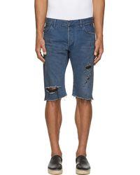 Balmain Blue Destroyed Denim Shorts - Lyst