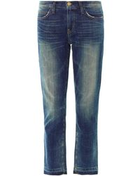 Current/Elliott Straight Cropped Low-Rise Stretch-Denim Jeans - Lyst
