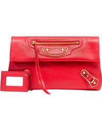 Balenciaga   Classic Envelope Metallic-Edge Clutch   Lyst