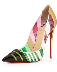 Christian Louboutin Front Double Multicolor PVC and Leather Red Sole Pumps - Lyst
