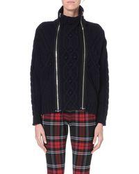 Jean Paul Gaultier Zipdetail Wool and Cashmereblend Jumper Navy - Lyst