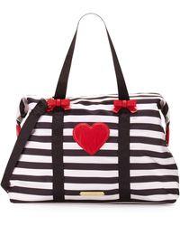 Betsey Johnson | Away We Go Striped Nylon Weekender Bag | Lyst