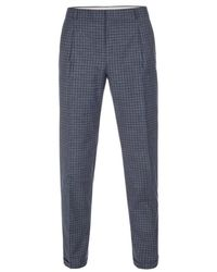 Paul Smith Navy Wool And Cotton-Blend Check Trousers - Lyst
