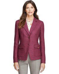 Brooks Brothers Petite Stellita Fit Wool Herringbone Jacket - Lyst