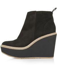 Topshop Miller Wedge Boots - Lyst