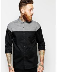 Asos Shirt in Long Sleeve with Cut and Sew Dobby Yoke and Grandad Collar - Lyst