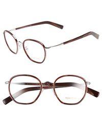 Tom Ford 51Mm Optical Glasses - Shiny Rhodium Metal/ Burgundy (Online Only) - Lyst