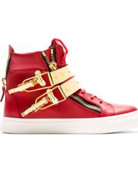 Giuseppe Zanotti Red London Flip_clasp High_top Sneakers - Lyst