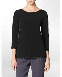 Calvin Klein White Label Faux Leather Trim 3/4 Sleeve Top - Lyst
