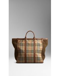 Burberry Large Horseferry Check and Suede Tote Bag - Lyst