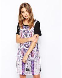 See U Soon Print Silk Mix Shift Dress with Neon Trim - Lyst