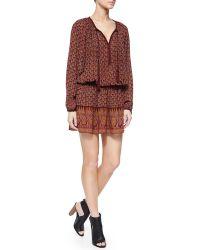 Talitha - Long-sleeve Block-print Dress - Lyst