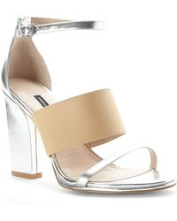 French Connection Silver & Nude Ina Sandals - Lyst