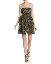 Alice + Olivia Caryn Metallic Lace Cocktail Dress - Lyst