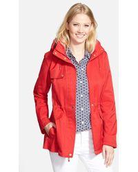 Ellen Tracy Detachable Hood Cotton Blend Jacket - Lyst